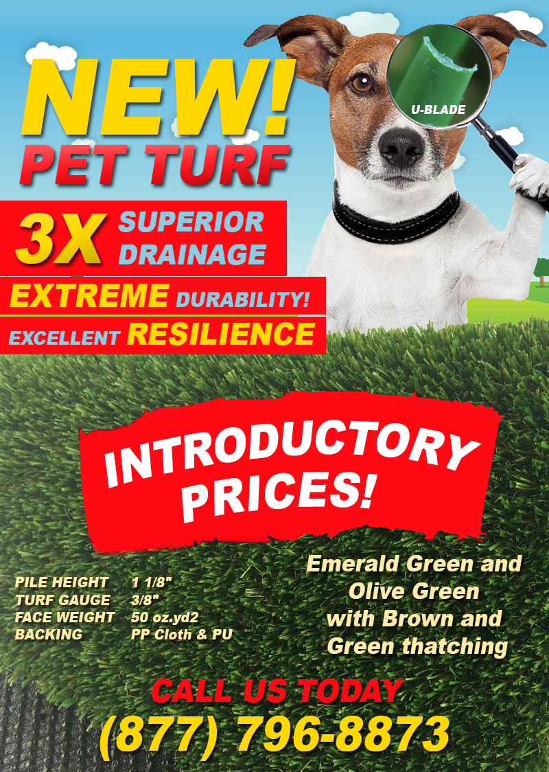 Artificial Grass - New PET TURF with 3X Drainage Capacity Has Arrived!